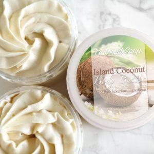 Beige body butter med kokosnøtt duft