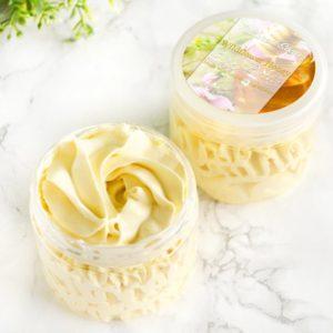 Gul body butter med villblomst og honning duft