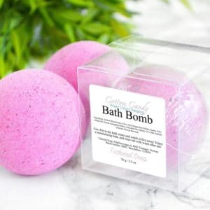Rosa badebombe med sukkerspinn duft