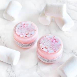 Rosa leppeskubb med marshmallow smak