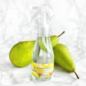 Grønn romspray med duft av pære