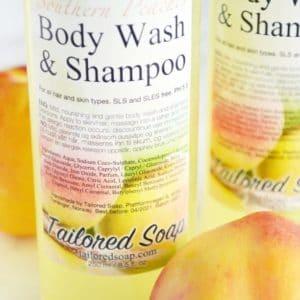 Gul dusjsåpe og shampo med fersken duft