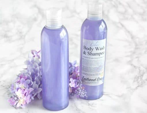 Lilla dusjsåpe og shampo med syrin duft