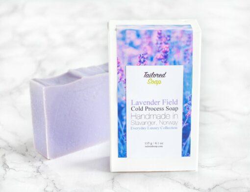 Lilla kaldprosess såpe med duft av lavendel og syriner