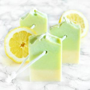 Grønn og gul kaldprosess såpe med sitron duft