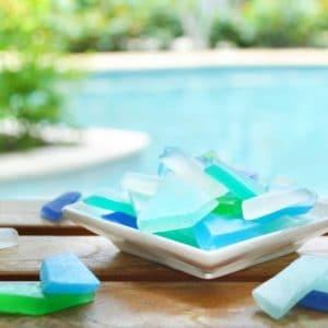 Blå og grønn sjøglass inspirert såpe med frisk, søt duft av hav, bris og sitrus